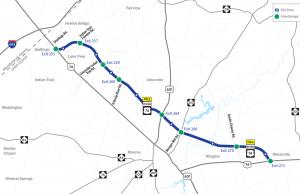 Mapa de la nueva ruta de Monroe Expressway