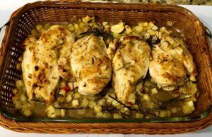 Canasta de supremas de pollo a las finas hierbas