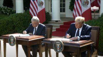 Trump y López Obrador firman declaración conjunta tras reunión